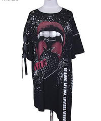 SEXPOT ReVenGe sa68769 SUICIDE LACE UP SLEEVE ASYMMETRY デザイン カットソー