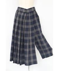 リネン タータンチェック スカート風ギャザーフレアー ディテールパンツ 2color ○ub-0089