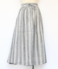 リネン 綾ストライプ ウエストタック 脇ボックスタック ロングスカート ○ub-0103