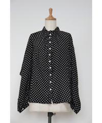 ドットプリント 襟フリルギャザー 貝釦長袖ブラウス 〇ub-0159