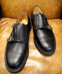 18.53 Rejected Tricker's / Black / Double Monk Shoes / Dainite Sole / Size 7 half