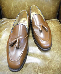 18.50 Rejected Tricker's / Brown / Tassel Slip On Shoes / Leather Sole