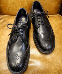 18.63 Rejected Tricker's / Black / Full Brogue Shoes / Leather Sole / Size 8h