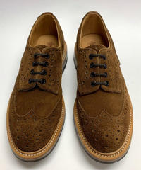 19.64 Rejected Tricker's / Brown Suede / Country Brogue Shoes / Commando W Sole / Size 7H