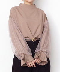 STRIPE TULLE LAYERED SLEEVE TOPS