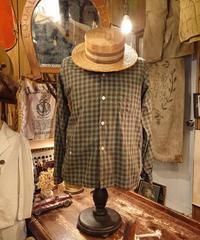 【 1960s glen cove 】Green Tartan Check Cotton Shirt.