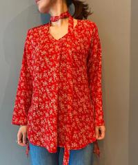 flower print tie blouse(red)