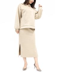 《LOANA》80-40100 P2-2 /スウェードダンボールニット・サイドスリットタイトスカート