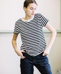 【5AP1112】30天竺BORDER クルーネック Tシャツ