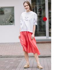【Loana】7AQ1216  袖ギャザー プリントTシャツ