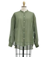 《LOANA》 80-89402 P1-1 / シアーシフォンバンドカラーシャツ