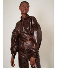 GHOSPELL / Knight Faux Leather Cropped Shirt