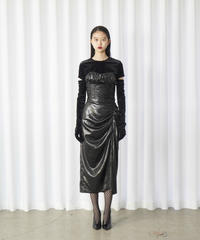 FETICO /  Leather satin gathered skirt
