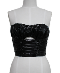 FETICO /  Leather satin gathered bustier