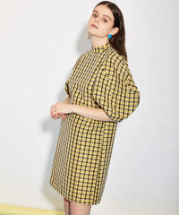 GHOSPELL / CHECK OUT PUFF SLEEVE MINI DRESS