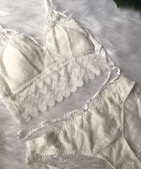 選べるサイズ パッド付き long bralette set up white
