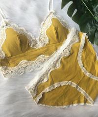 パッド付きノンワイヤーブラレットセット cotton yellow