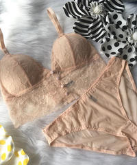 パッド付き long bralette set up pink