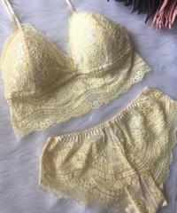 パッド付きレースブラ yellow flower set