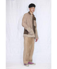 No.R-W-100  Fringe Corduroy Jacket(Brown×Beige)