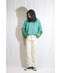 No.R-W-003 remake trickart wide pants   (White)