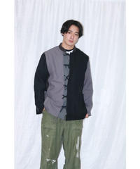 No.R-W-059 remake  pleats  jacket (Black×Gray)