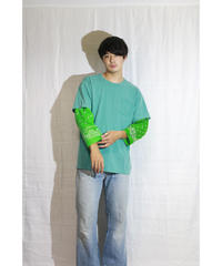 No.R-W-103 Sleeve Layered  Pullover -BANDANA (Green)