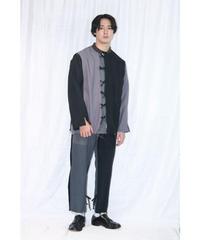 No.R-W-060 remake  pleats  pants (Black×Gray)