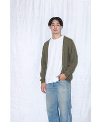 No.W-070 whole garment buttonless cardigan-Olive(ザクロ染め)
