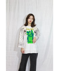 No.R-W-084 remake rocktee sleeve BANDANA layered shirt