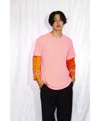 No.R-W-103 Sleeve Layered  Pullover -BANDANA (Orange)
