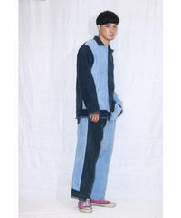 No.R-W-101 Fringe Corduroy Pants (Navy×Lightblue)