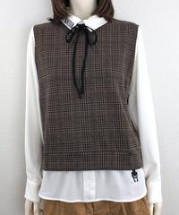 ボンジュールリボン付きフェイクレイヤードシャツ(RE022kdL-44)