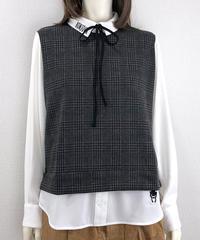 ボンジュールリボン付きフェイクレイヤードシャツ(RE022kdL-54)