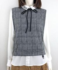 ボンジュールリボン付きフェイクレイヤードシャツ(RE022kdL-09)
