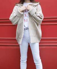 loose knit hoodie / graybeige