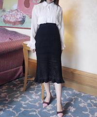 【予約】mermaid knit SK / black