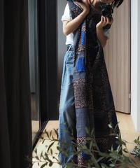 batik kaftan -blue×brown-