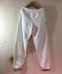 9.7ozスエットパンツ ホワイトXネオングリーン