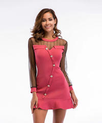 ミニドレス レース スリーブ ピンク 斜めボタン マーメイドドレス