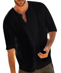 ビッグシルエット リネンシャツ メンズ 七分袖 綿麻 ブラック 秋服 無地