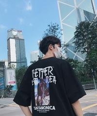 ビッグシルエット Tシャツ 韓国 ストリート 夏 ブラック カジュアル プリントロゴ