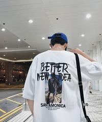 白T ビッグシルエットシャツ 韓国 ストリート 夏 カジュアル  プリントロゴ