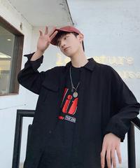 韓国ファッション ビッグシルエット メンズ 長袖 黒 ブラック オックスフォード