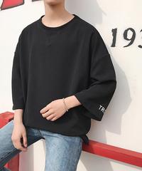 メンズ Tシャツ ビッグシルエット ルーズ ボリューム袖 7分袖 無地  ブラック
