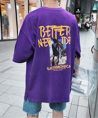 ビッグシルエット Tシャツ 韓国 ストリート 夏 パープル カジュアル プリントロゴ