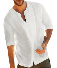ビッグシルエット リネンシャツ メンズ 七分袖 綿麻 白シャツ 秋服 無地