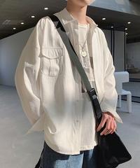 韓国ファッション ビッグシルエット メンズ 長袖 白シャツ オックスフォード