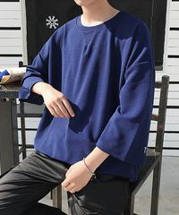 メンズ Tシャツ ビッグシルエット ルーズ ボリューム袖 7分袖 無地  ネイビー
