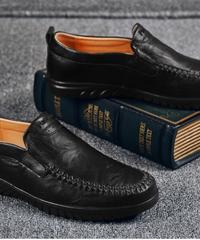 ビジネスシューズ ローファースリッポン 革靴 レザー ストレッチ 柔らかい メンズ
